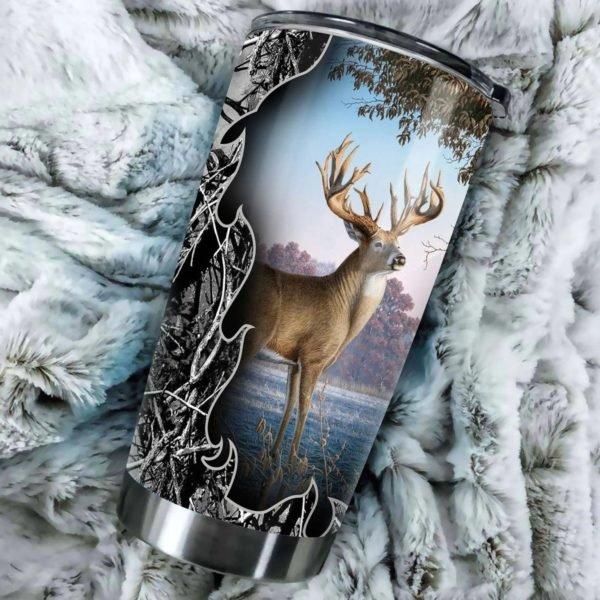 Deer hunting all over printed steel tumbler 2