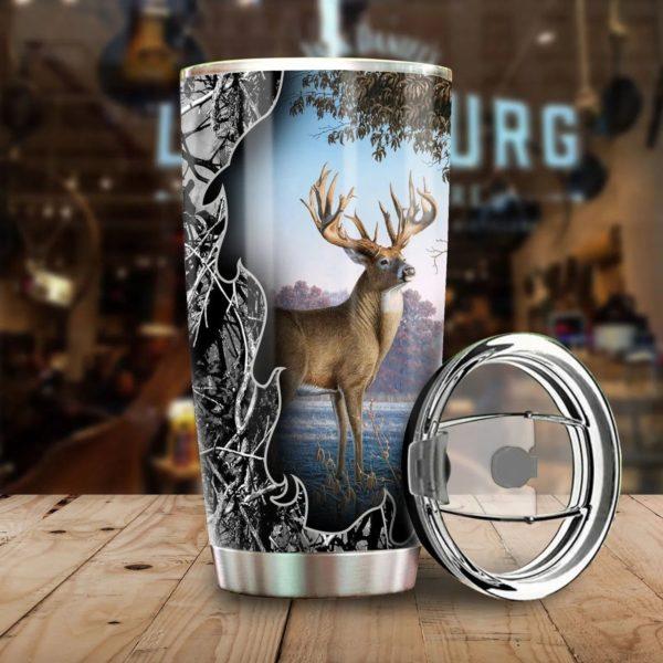 Deer hunting all over printed steel tumbler 3