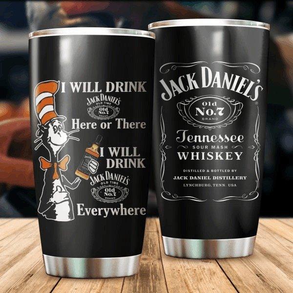 Dr seuss cat i will drink jack daniel's all over print steel tumbler 1