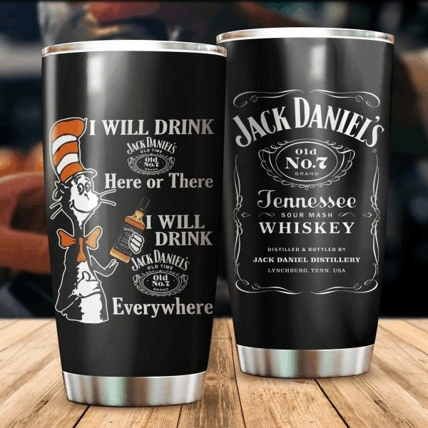 Dr seuss cat i will drink jack daniel's all over print steel tumbler 4