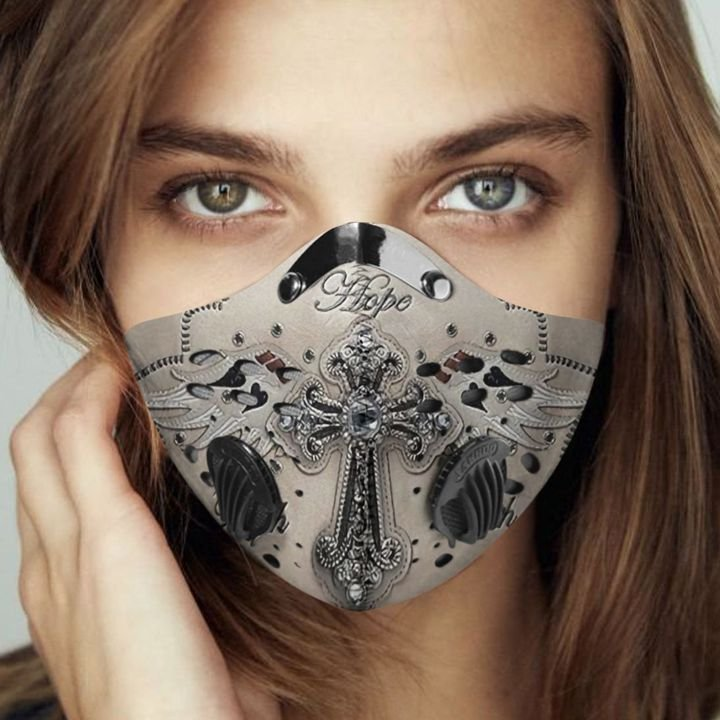 God faith and hope filter activated carbon face mask 1