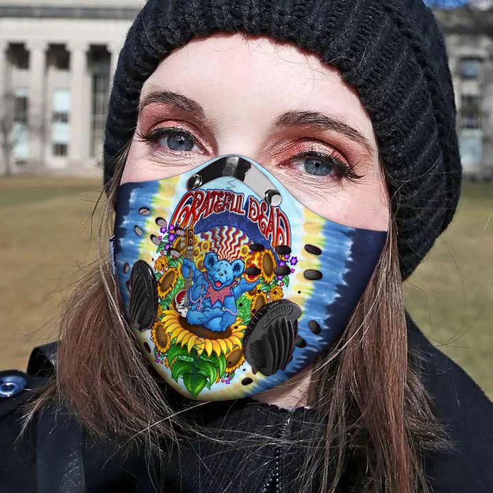 Grateful dead bears filter activated carbon face mask 1