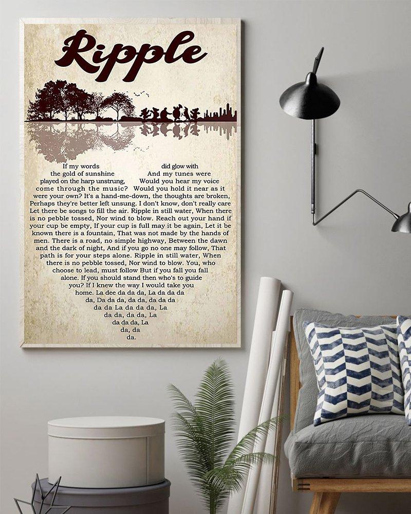 Grateful dead ripple lyrics guitar lake shadow poster 2
