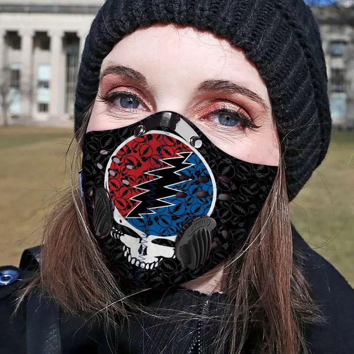 Grateful dead rock band carbon pm 2,5 face mask 3