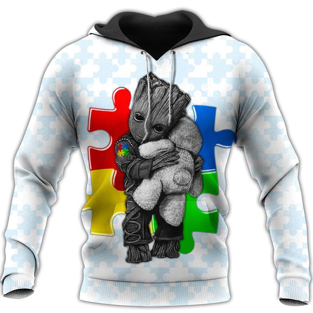 Groot autism awareness full over print hoodie