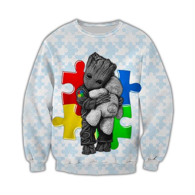 Groot autism awareness full over print sweatshirt