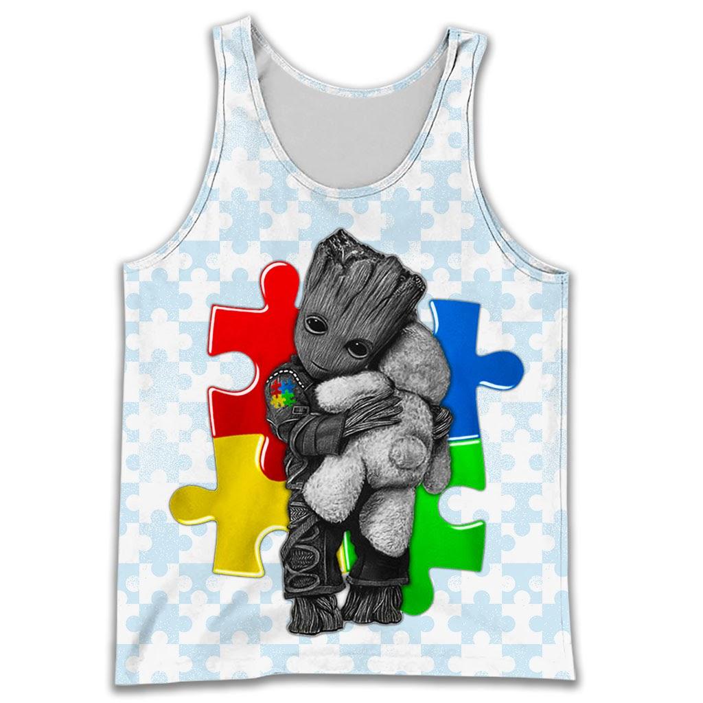 Groot autism awareness full over print tank top