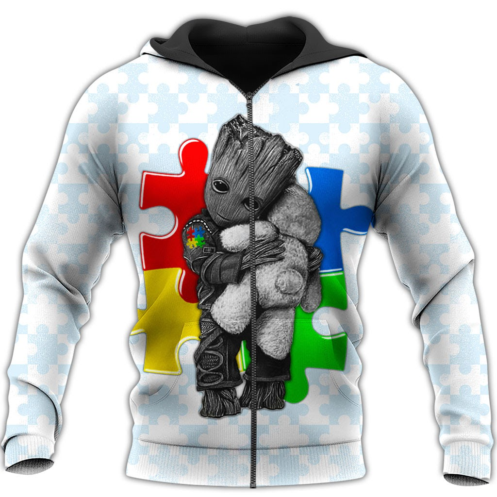 Groot autism awareness full over print zip hoodie