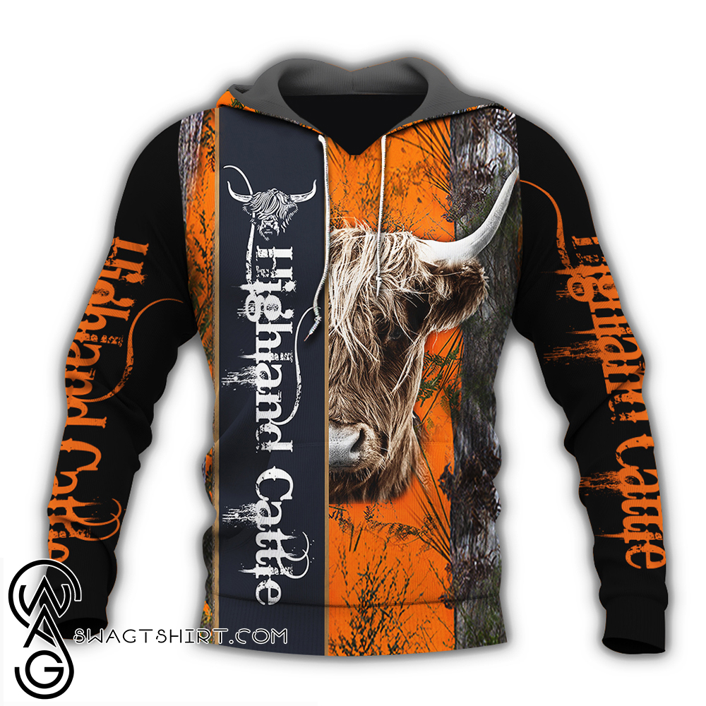 Highland cattle hunting camo full over print shirt