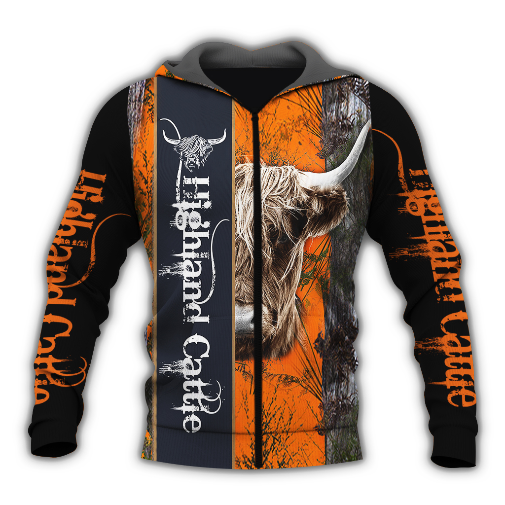 Highland cattle hunting camo full over print zip hoodie