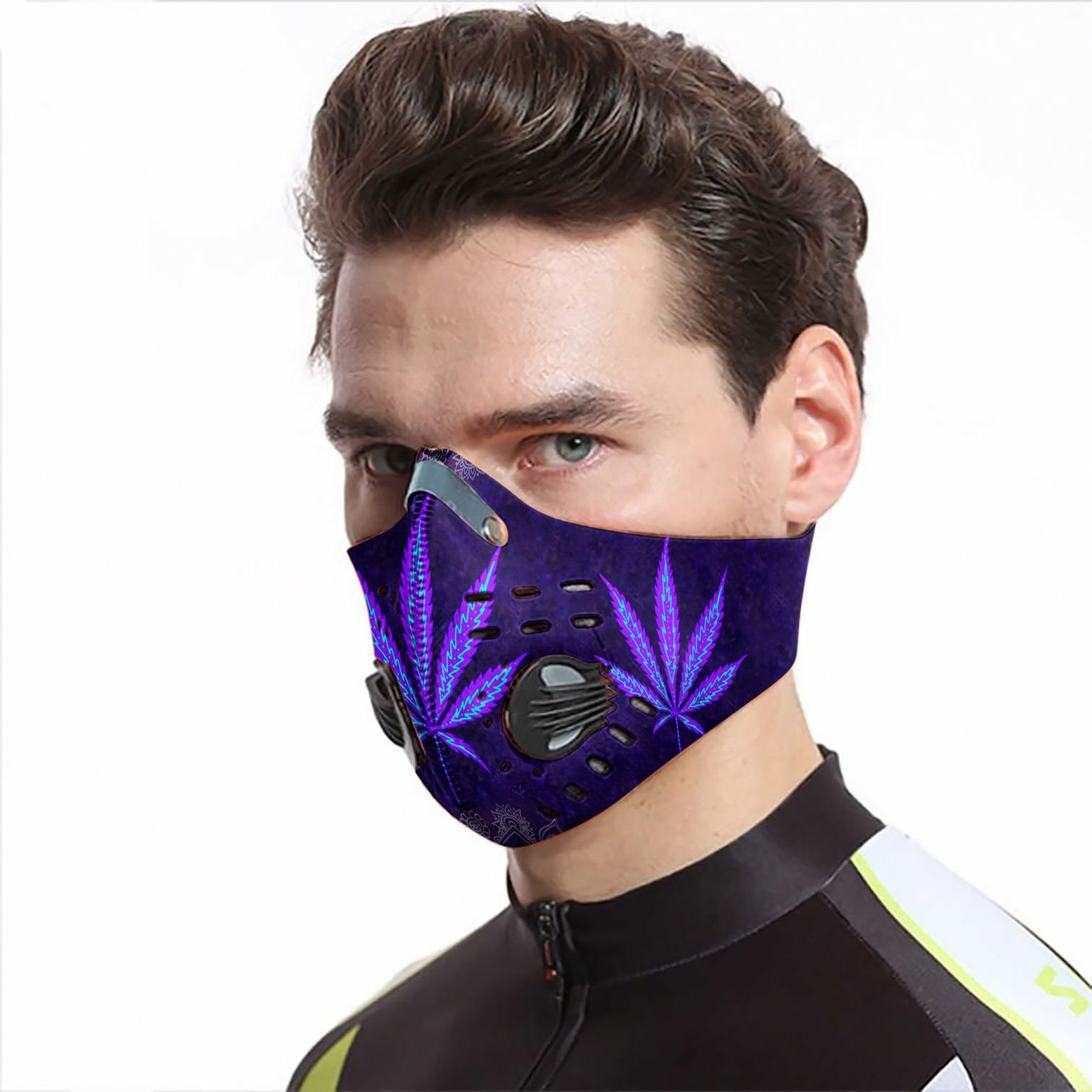 Hippie cannabis purple leaf carbon pm 2,5 face mask 2