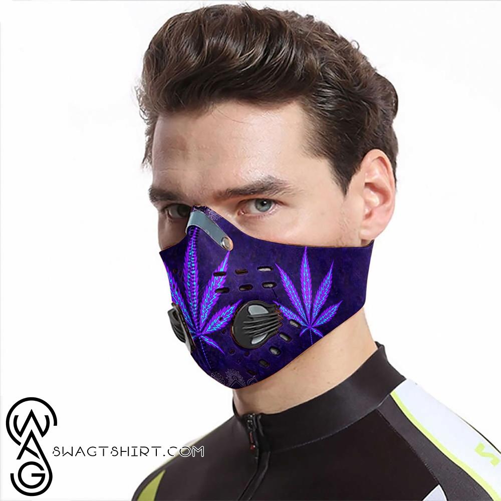 Hippie cannabis purple leaf carbon pm 2,5 face mask