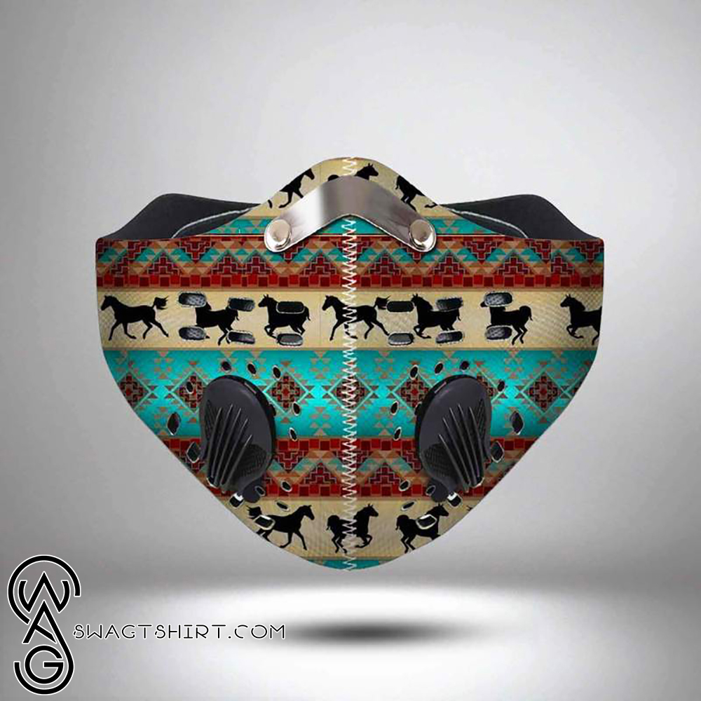 Horse american native symbol filter activated carbon face mask