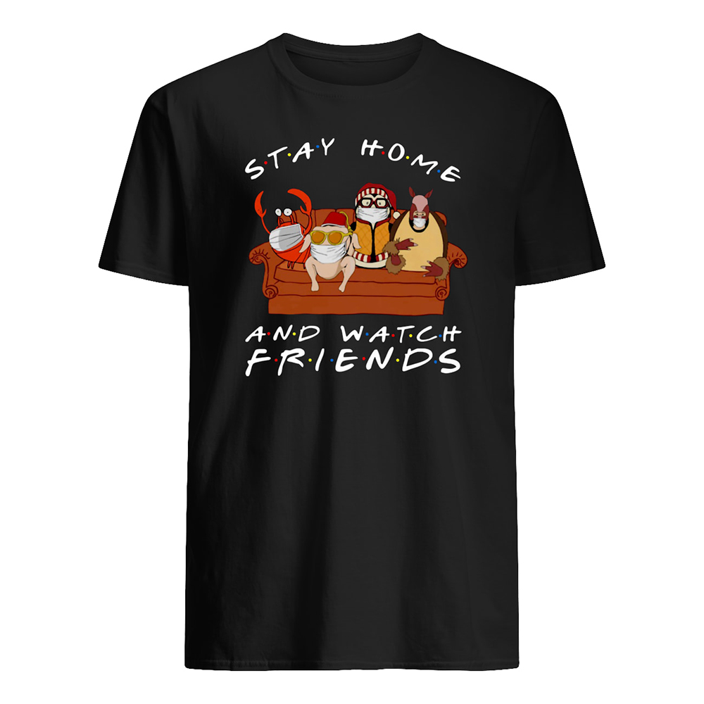 Hugsy penguin stay at home and watch friends mens shirt