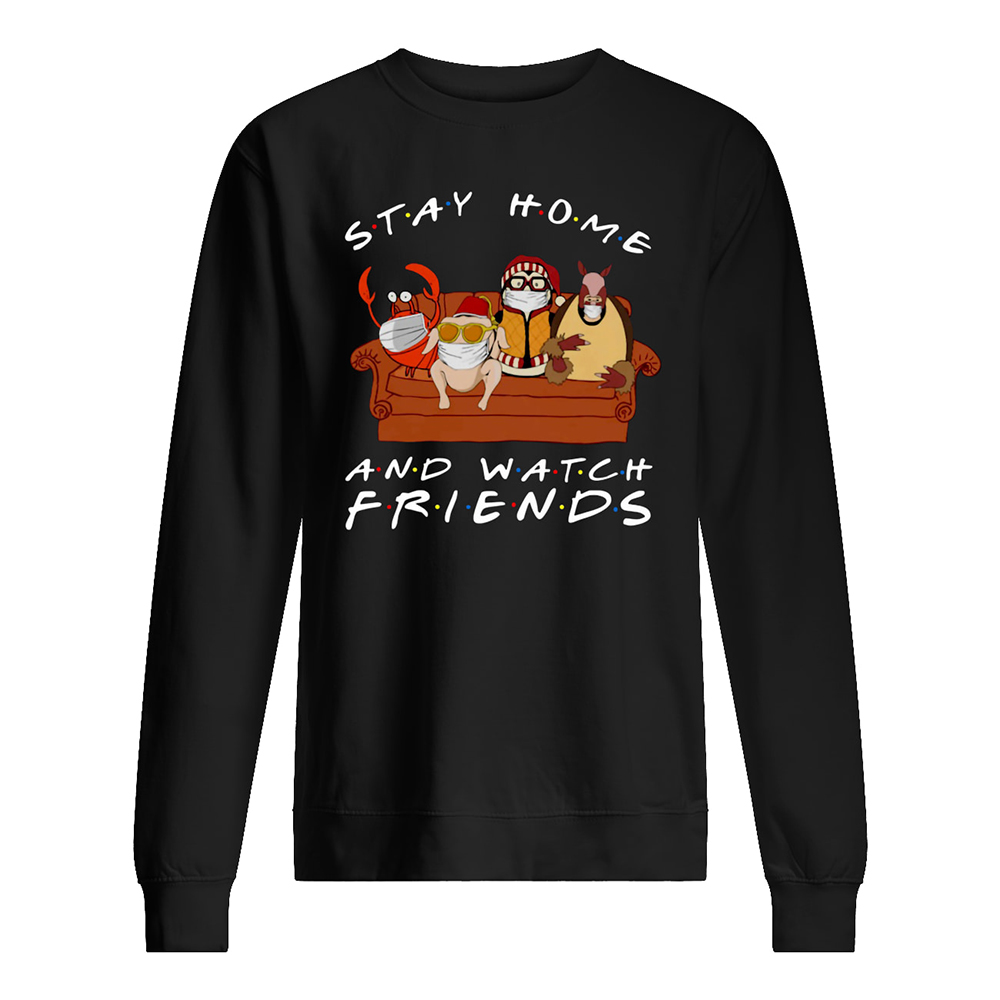 Hugsy penguin stay at home and watch friends sweatshirt