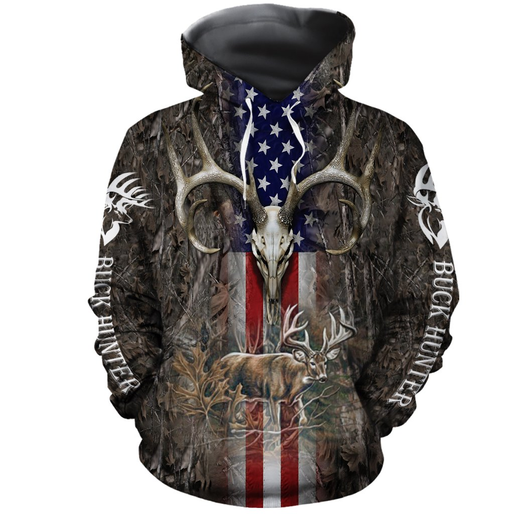 Hunter legend deer hunting camo full over printed hoodie