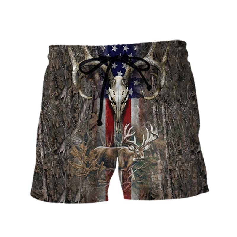 Hunter legend deer hunting camo full over printed shorts