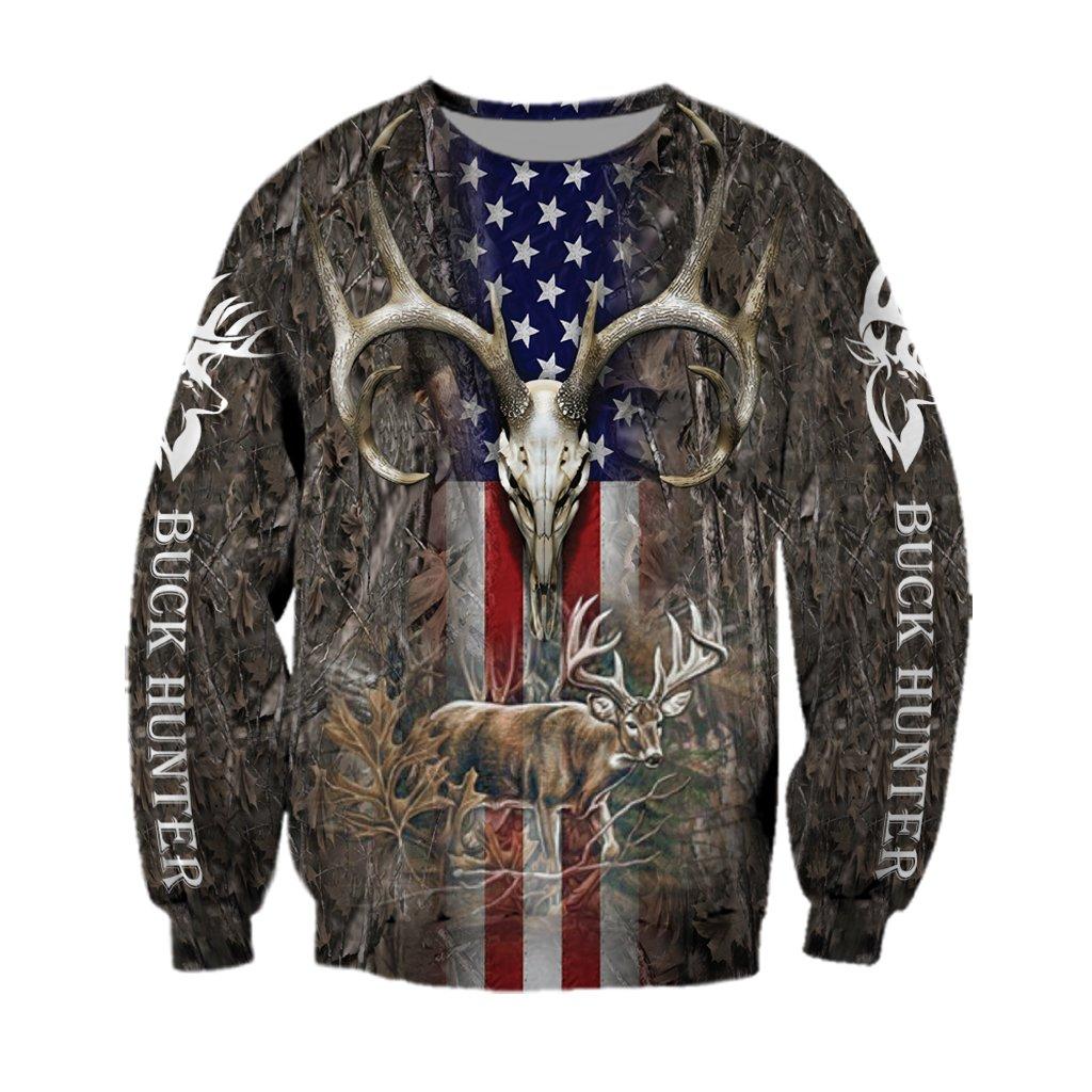 Hunter legend deer hunting camo full over printed sweatshirt