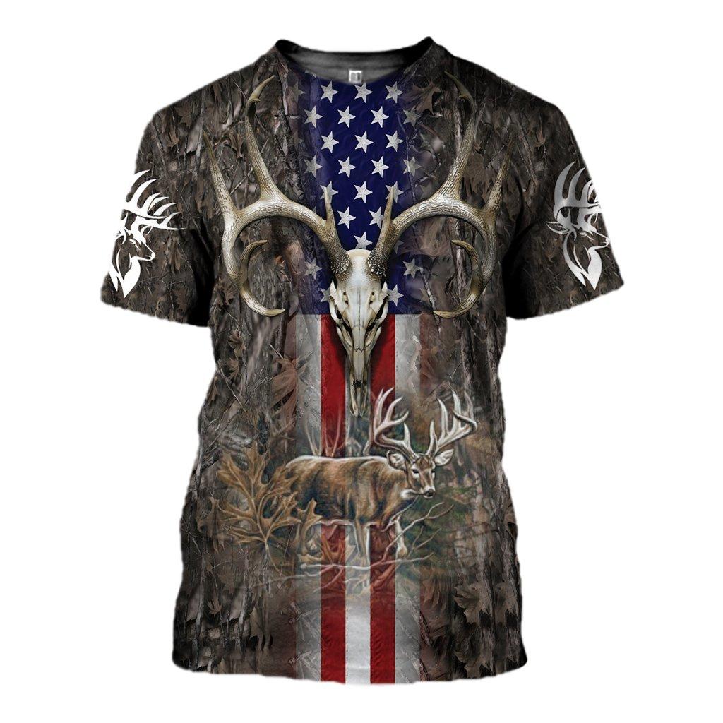 Hunter legend deer hunting camo full over printed tshirt