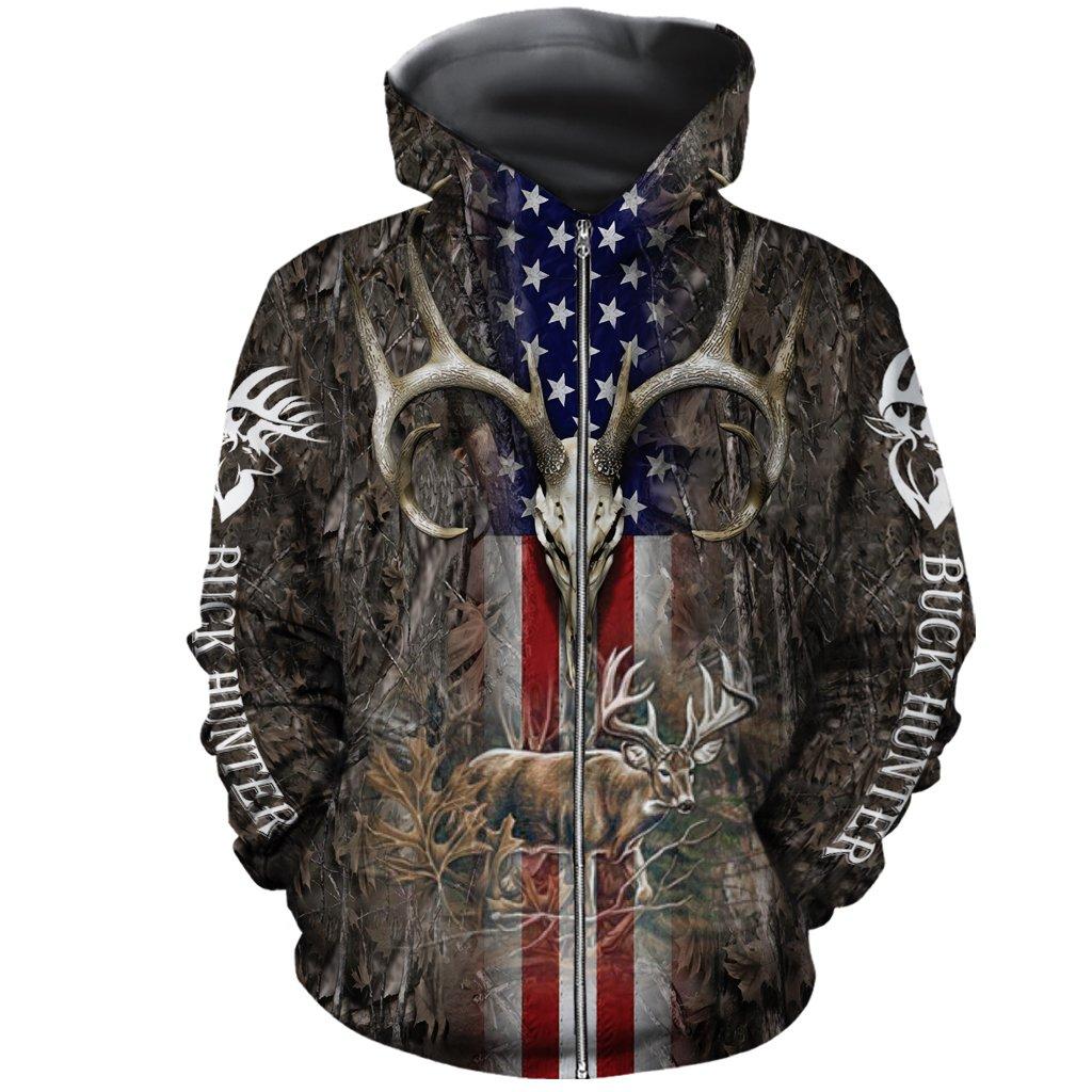 Hunter legend deer hunting camo full over printed zip hoodie