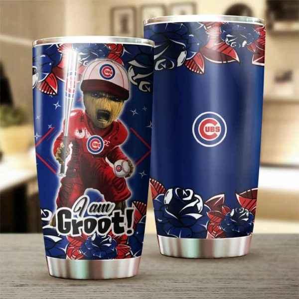 I'm groot chicago cubs all over printed steel tumbler 4