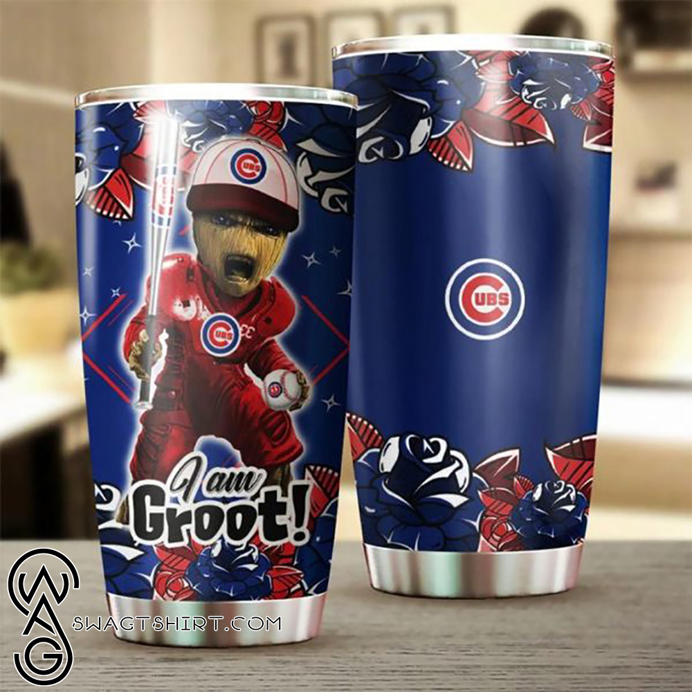 I'm groot chicago cubs all over printed steel tumbler