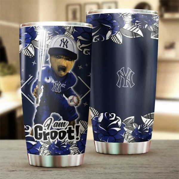 I'm groot new york yankees all over printed steel tumbler 1