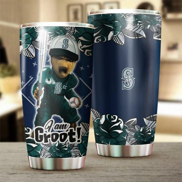 I'm groot seattle mariners all over printed steel tumbler 1
