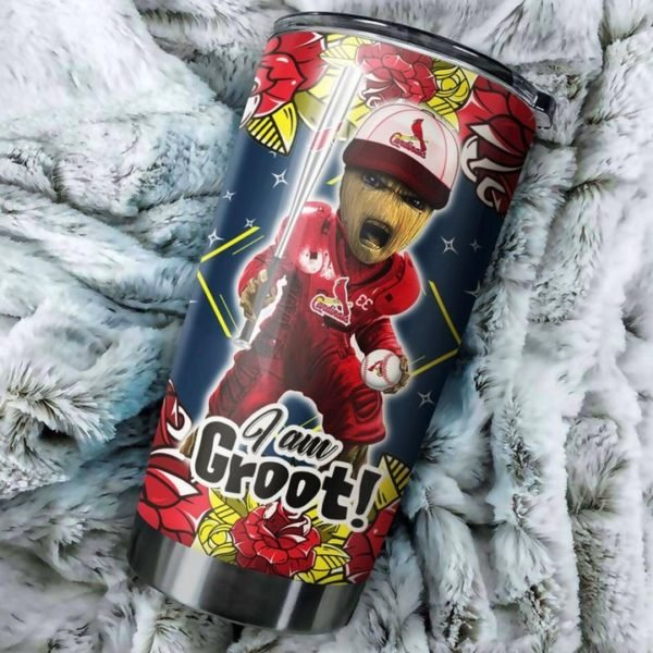 I'm groot st louis cardinals all over printed steel tumbler 2