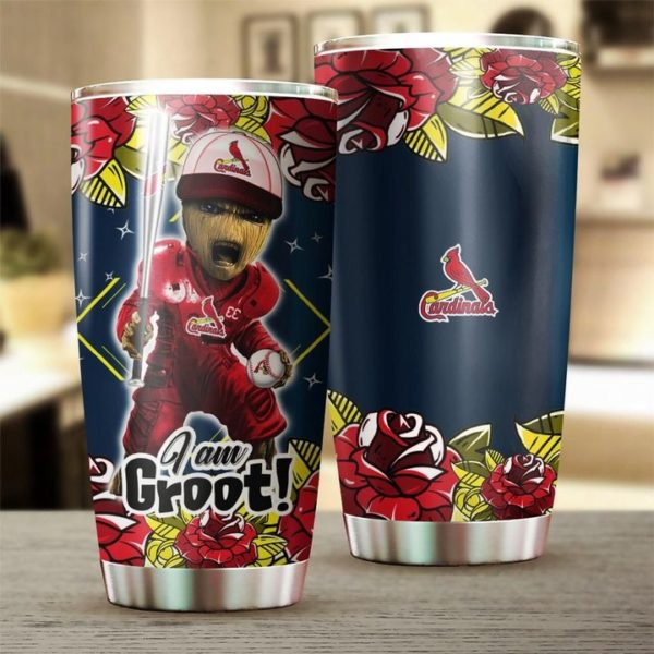 I'm groot st louis cardinals all over printed steel tumbler 3