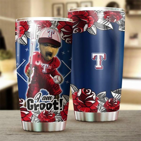 I'm groot texas rangers full over printed steel tumbler 2