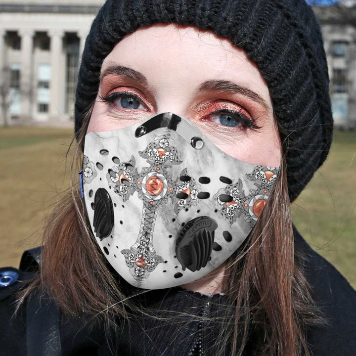 Jesus Christ cross filter activated carbon face mask 2