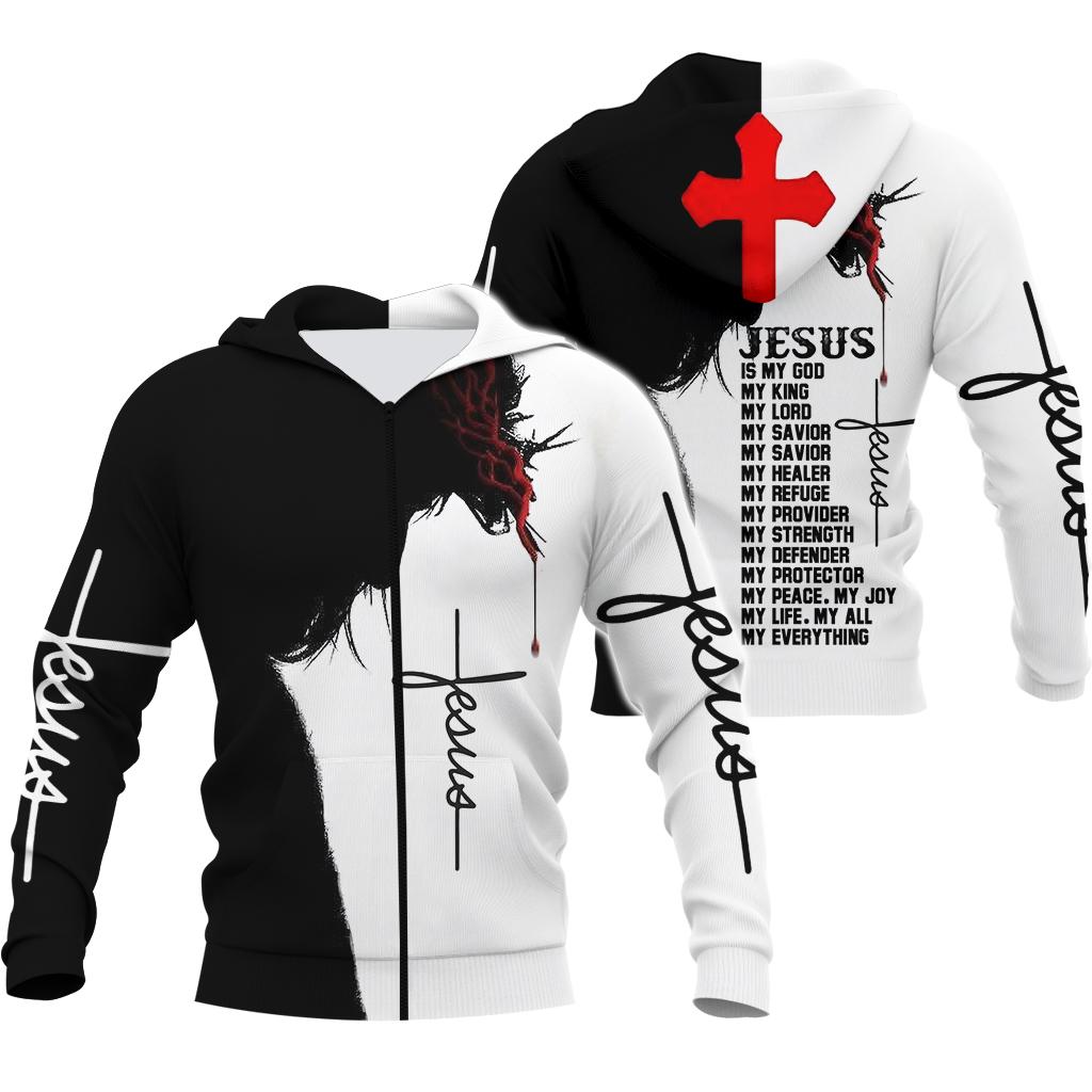 Jesus is my God my king my everything full over print zip hoodie