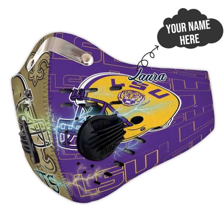 LSU tigers and new orleans saints filter activated carbon face mask 4