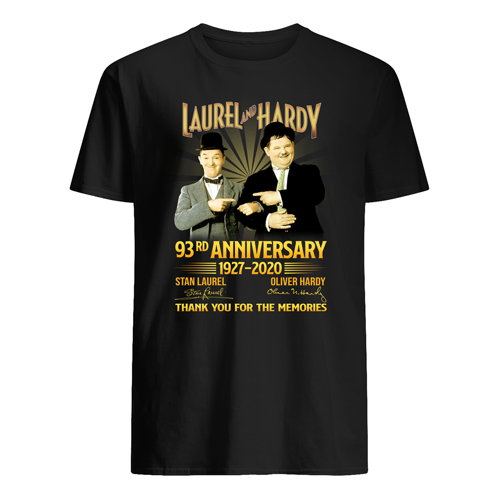 Laurel and hardy 93rd anniversary 1927 2020 signatures thank you for the memories mens shirt