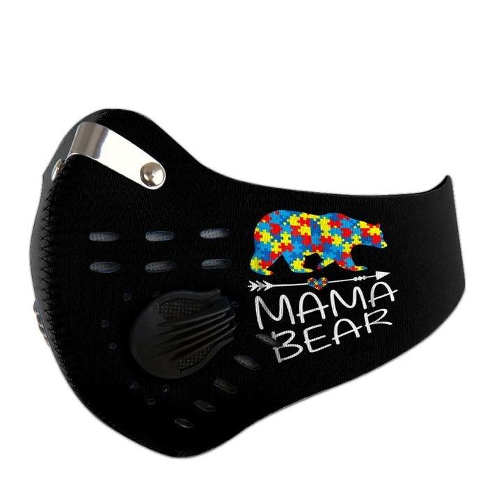 Mama bear autism awareness carbon pm 2,5 face mask 2