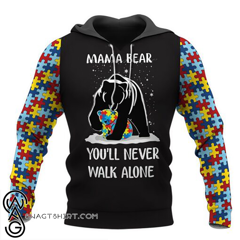 Mama bear autism awareness full over print shirt
