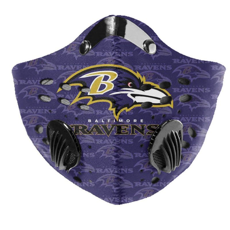 NFL baltimore ravens logo filter activated carbon face mask 1