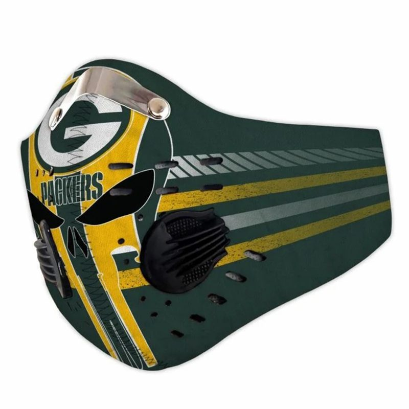 NFL green bay packers skull filter activated carbon face mask 1