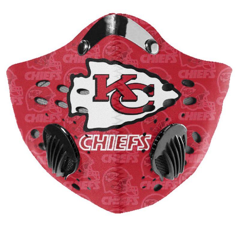 NFL kansas city chiefs logo filter activated carbon face mask 2