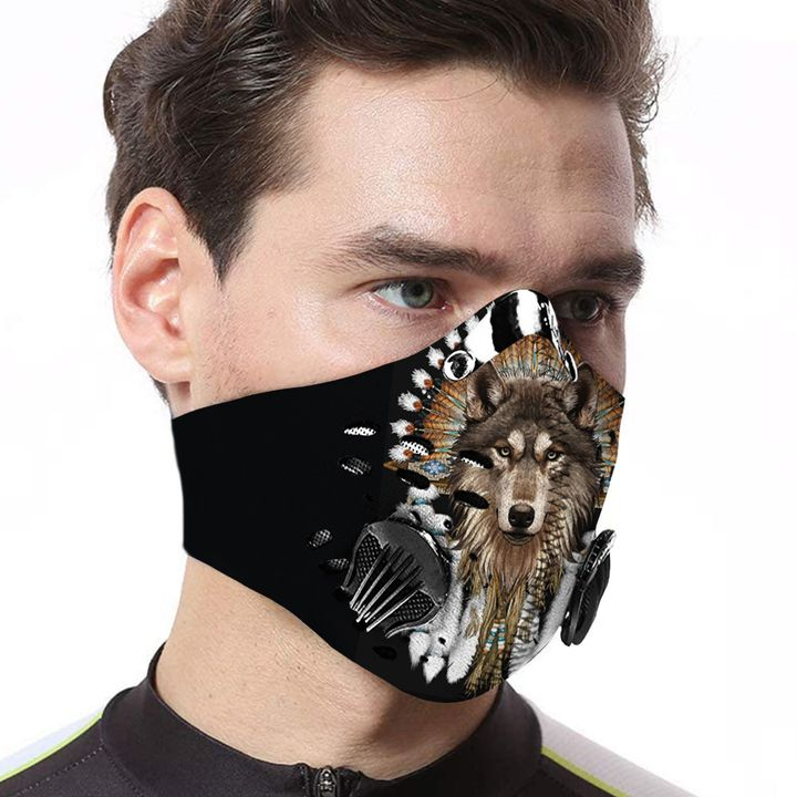Native american wolf carbon pm 2,5 face mask 1