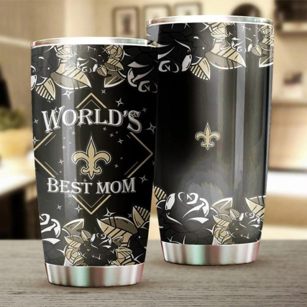 New orleans saints world's best mom all over print steel tumbler 2