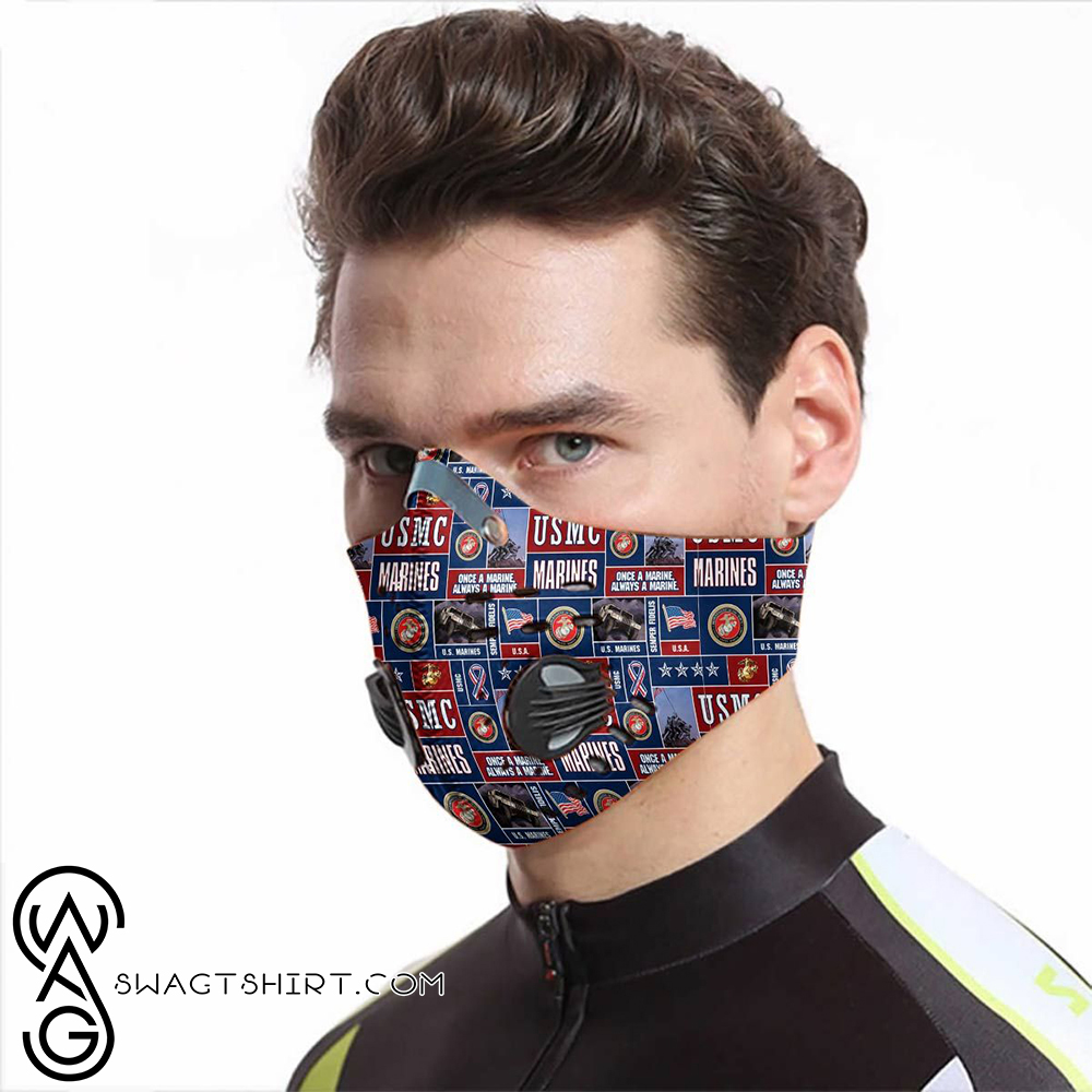 Once a marine always a marine carbon pm 2,5 face mask