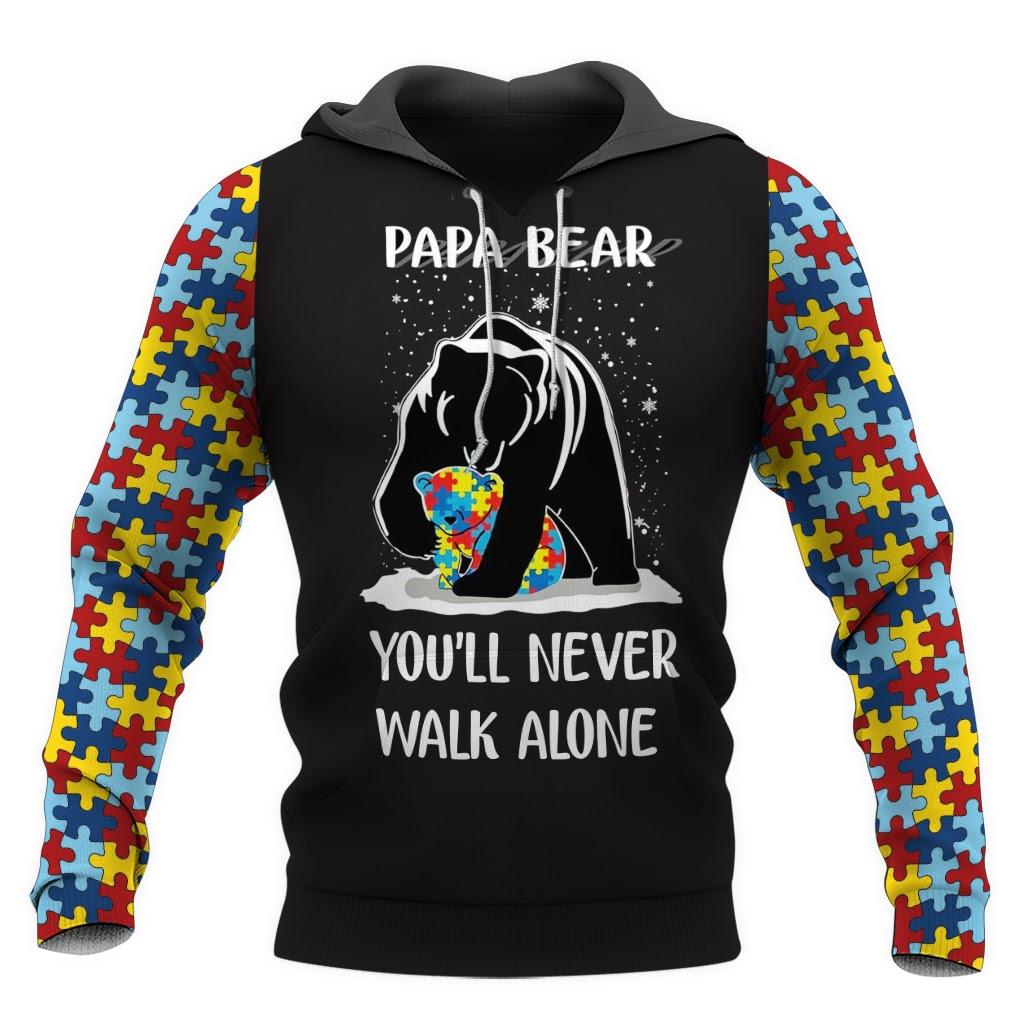 Papa bear autism awareness full over print hoodie