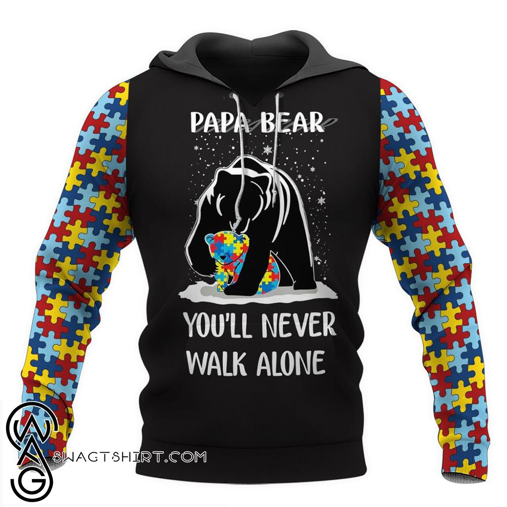 Papa bear autism awareness full over print shirt