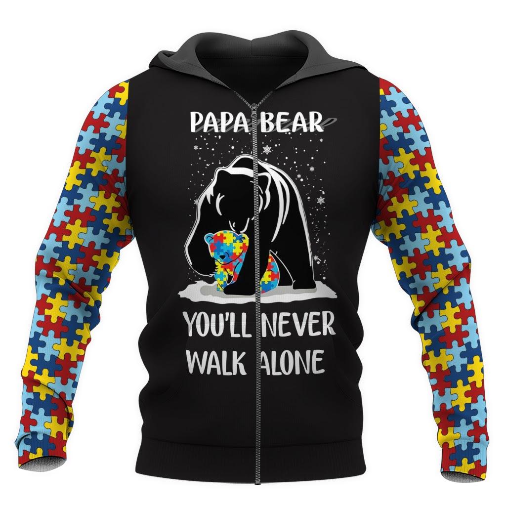 Papa bear autism awareness full over print zip hoodie