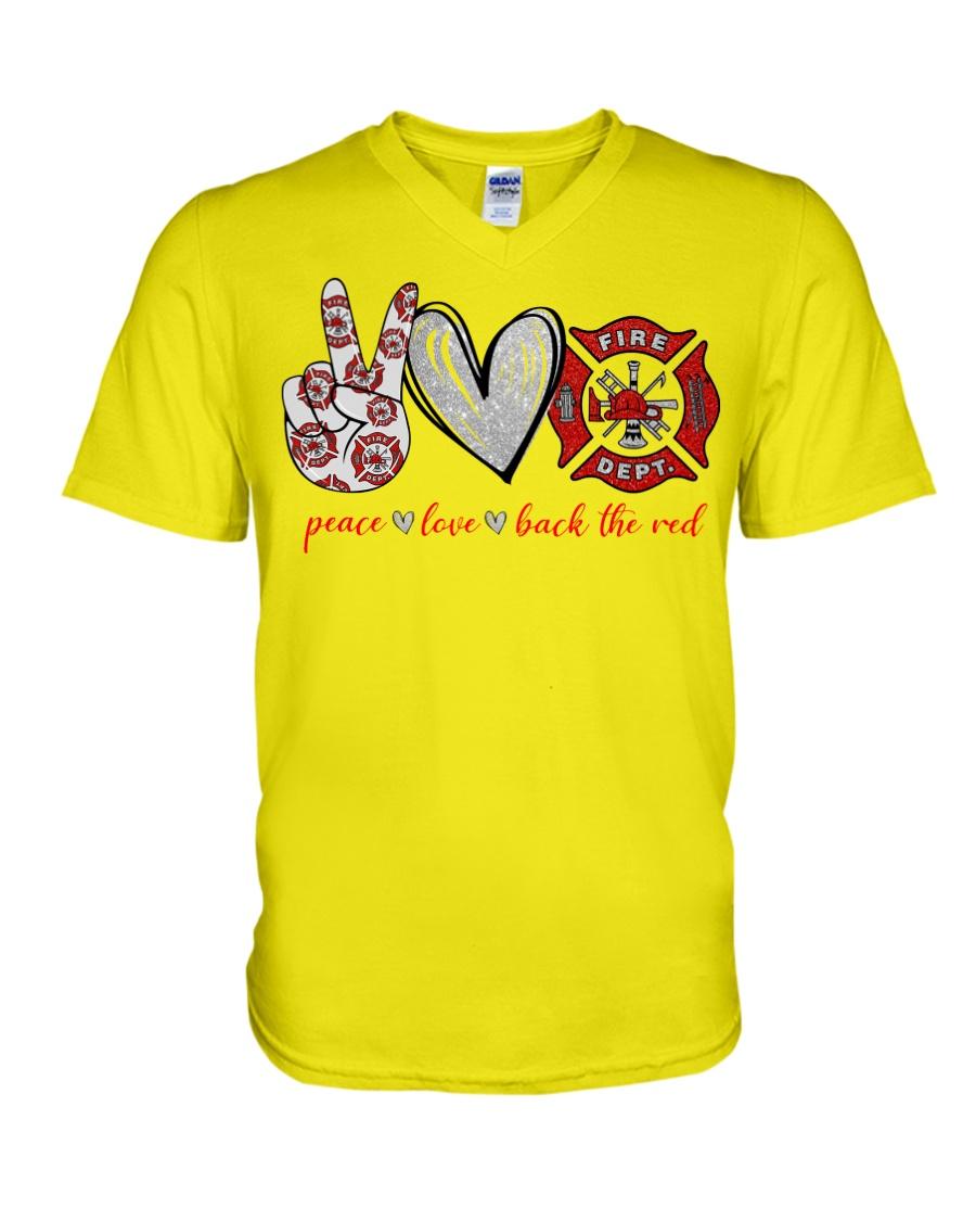 Peace love back the red firefighter v-neck