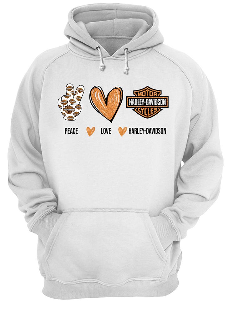 Peace love harley-davidson hoodie