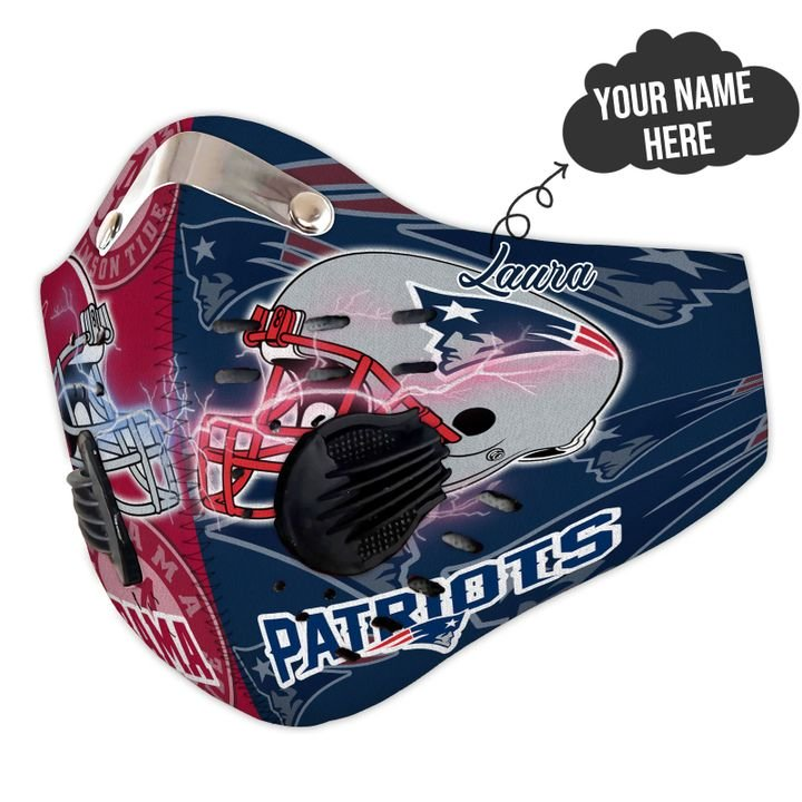 Personalized alabama crimson tide and new england patriots filter activated carbon face mask 3