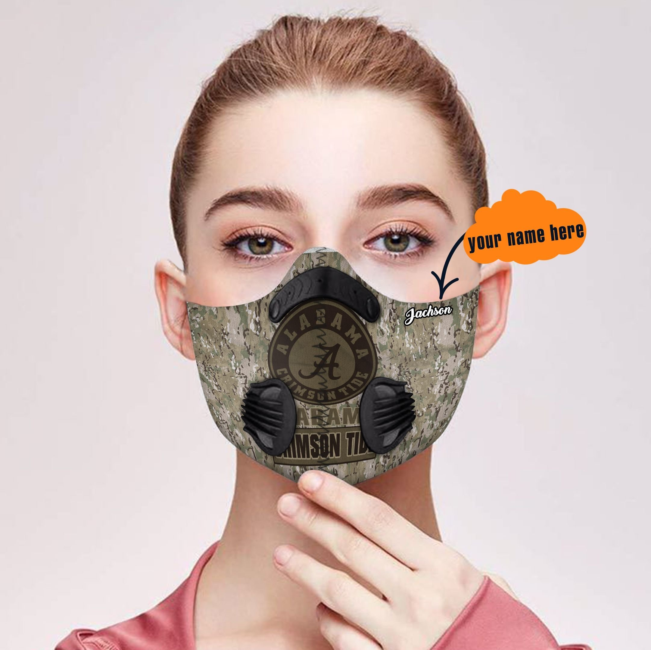 Personalized alabama crimson tide camo filter activated carbon face mask 2